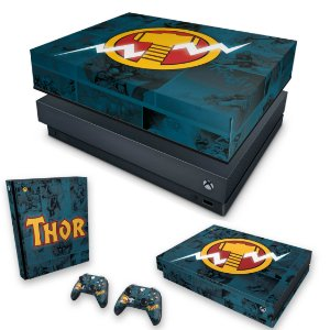 KIT Xbox One X Skin e Capa Anti Poeira - Thor Comics