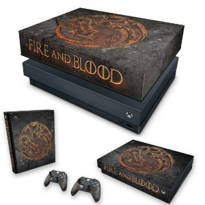 KIT Xbox One X Skin e Capa Anti Poeira - Game of Thrones Targaryen