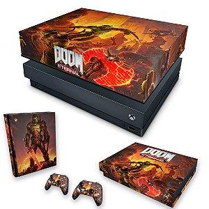 KIT Xbox One X Skin e Capa Anti Poeira - Doom Eternal