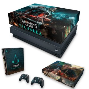 KIT Xbox One X Skin e Capa Anti Poeira - Assassin's Creed Valhalla