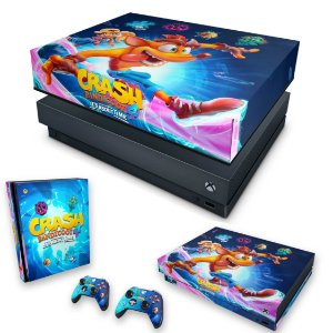 KIT Xbox One X Skin e Capa Anti Poeira - Crash Bandicoot 4