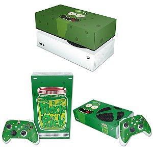 KIT Xbox Series S Skin e Capa Anti Poeira - Pickle Rick And Morty