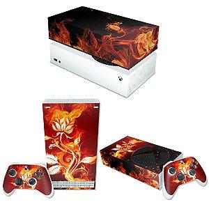KIT Xbox Series S Skin e Capa Anti Poeira - Fire Flower