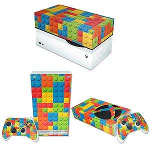 KIT Xbox Series S Skin e Capa Anti Poeira - Lego Peça