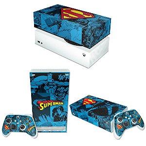KIT Xbox Series S Skin e Capa Anti Poeira - Superman Comics