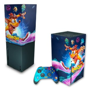 KIT Xbox Series X Skin e Capa Anti Poeira - Crash Bandicoot 4