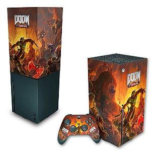 KIT Xbox Series X Skin e Capa Anti Poeira - Doom Eternal