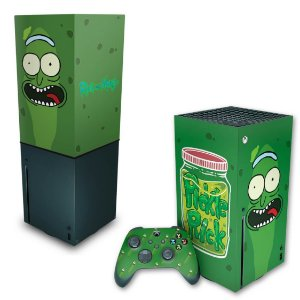 KIT Xbox Series X Skin e Capa Anti Poeira - Pickle Rick And Morty
