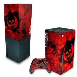 KIT Xbox Series X Skin e Capa Anti Poeira - Gears of War - Skull