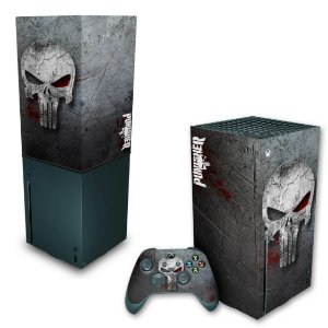 KIT Xbox Series X Skin e Capa Anti Poeira - The Punisher Justiceiro