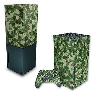 KIT Xbox Series X Skin e Capa Anti Poeira - Camuflado Verde