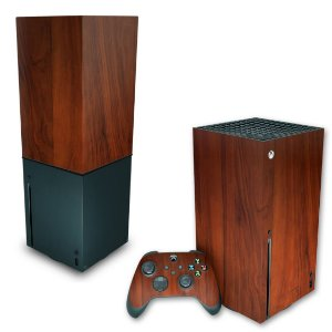 KIT Xbox Series X Skin e Capa Anti Poeira - Madeira