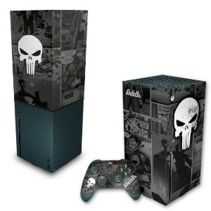 KIT Xbox Series X Skin e Capa Anti Poeira - The Punisher Justiceiro Comics