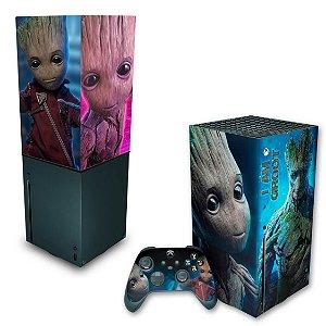 KIT Xbox Series X Skin e Capa Anti Poeira - Baby Groot