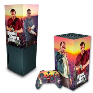 KIT Xbox Series X Skin e Capa Anti Poeira - GTA V