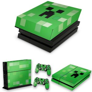 KIT PS4 Fat Skin e Capa Anti Poeira - Creeper Minecraft