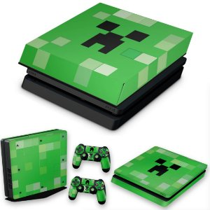 KIT PS4 Slim Skin e Capa Anti Poeira - Creeper Minecraft
