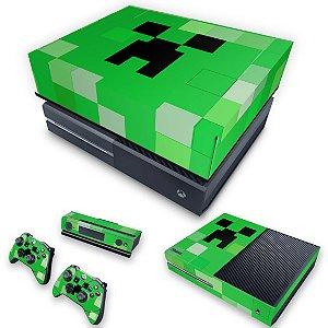 KIT Xbox One Fat Skin e Capa Anti Poeira - Creeper Minecraft