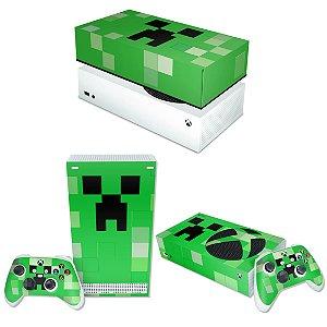 KIT Xbox Series S Skin e Capa Anti Poeira - Creeper Minecraft