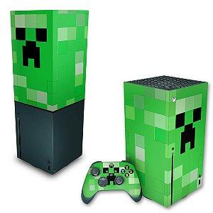 KIT Xbox Series X Skin e Capa Anti Poeira - Creeper Minecraft