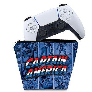 Capa PS5 Controle Case - Capitão América Comics