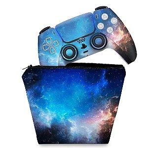 KIT Capa Case e Skin PS5 Controle - Universo Cosmos