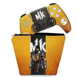KIT Capa Case e Skin PS5 Controle - Mortal Kombat 11