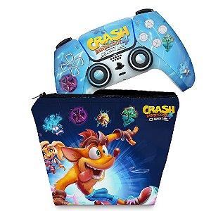 KIT Capa Case e Skin PS5 Controle - Crash Bandicoot 4
