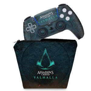 KIT Capa Case e Skin PS5 Controle - Assassin's Creed Valhalla