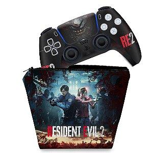 KIT Capa Case e Skin PS5 Controle - Resident Evil 2 Remake
