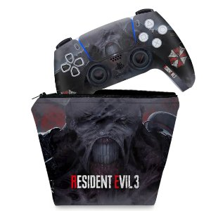 KIT Capa Case e Skin PS5 Controle - Resident Evil 3 Remake