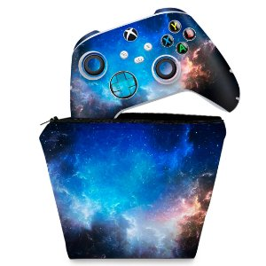 KIT Capa Case e Skin Xbox Series S X Controle - Universo Cosmos