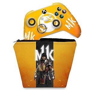 KIT Capa Case e Skin Xbox Series S X Controle - Mortal Kombat 11