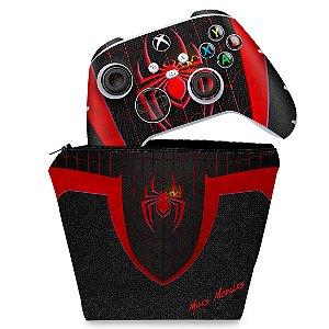 KIT Capa Case e Skin Xbox Series S X Controle - Spider-Man: Miles Morales