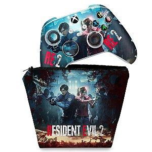 KIT Capa Case e Skin Xbox Series S X Controle - Resident Evil 2 Remake