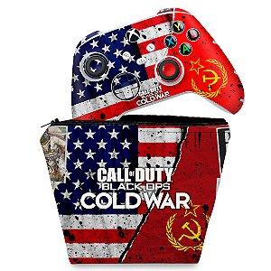 KIT Capa Case e Skin Xbox Series S X Controle - Call Of Duty Cold War
