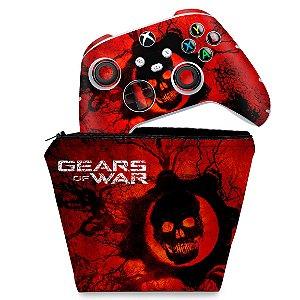 KIT Capa Case e Skin Xbox Series S X Controle - Gears of War - Skull