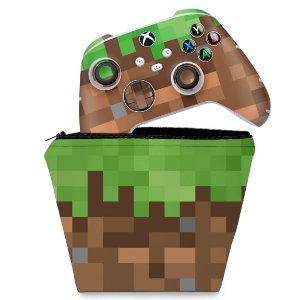 KIT Capa Case e Skin Xbox Series S X Controle - Minecraft