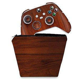 KIT Capa Case e Skin Xbox Series S X Controle - Madeira