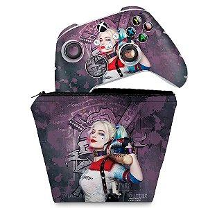 KIT Capa Case e Skin Xbox Series S X Controle - Arlequina Harley Quinn