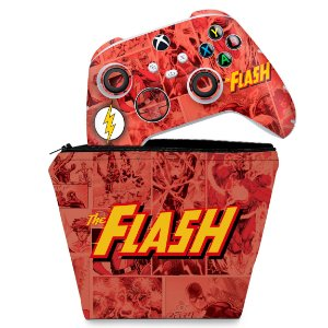 KIT Capa Case e Skin Xbox Series S X Controle - The Flash Comics