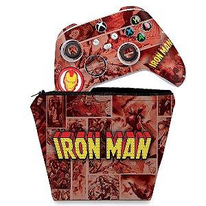 KIT Capa Case e Skin Xbox Series S X Controle - Homem De Ferro Comics