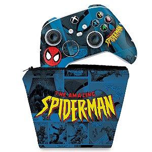 KIT Capa Case e Skin Xbox Series S X Controle - Homem-Aranha Spider-Man Comics