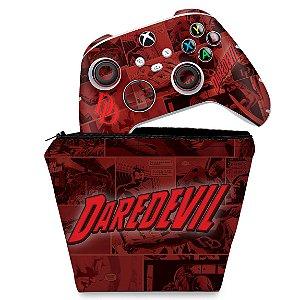 KIT Capa Case e Skin Xbox Series S X Controle - Daredevil Demolidor Comics