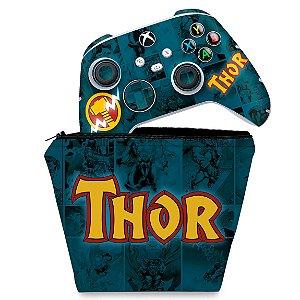 KIT Capa Case e Skin Xbox Series S X Controle - Thor Comics