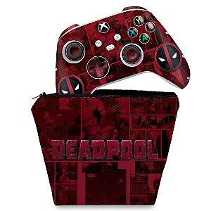 KIT Capa Case e Skin Xbox Series S X Controle - Deadpool Comics
