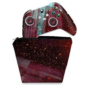 KIT Capa Case e Skin Xbox Series S X Controle - Abstrato #100
