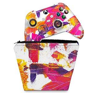 KIT Capa Case e Skin Xbox Series S X Controle - Abstrato #103