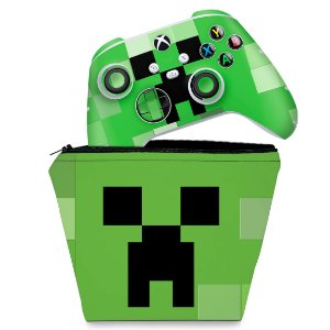 KIT Capa Case e Skin Xbox Series S X Controle - Creeper Minecraft