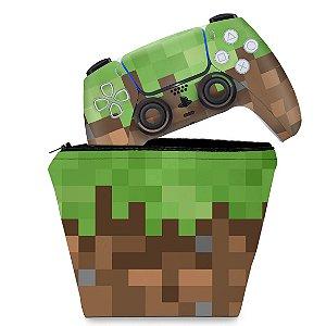 KIT Capa Case e Skin PS5 Controle - Minecraft